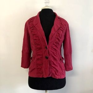 XCVI Pink Ruched Raw Edge Button Up Jacket